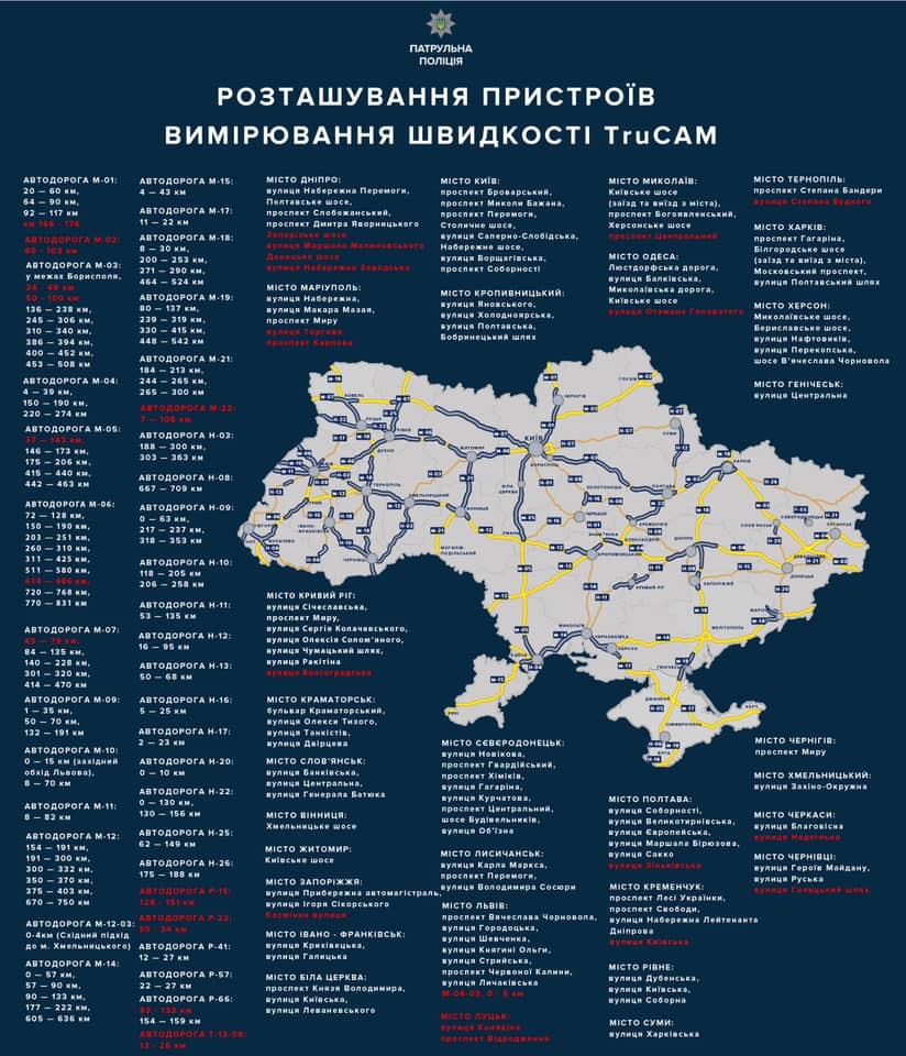 Не плутати з автофіксацією: на українських дорогах з'явилися додаткові прилади TruCAM - карта